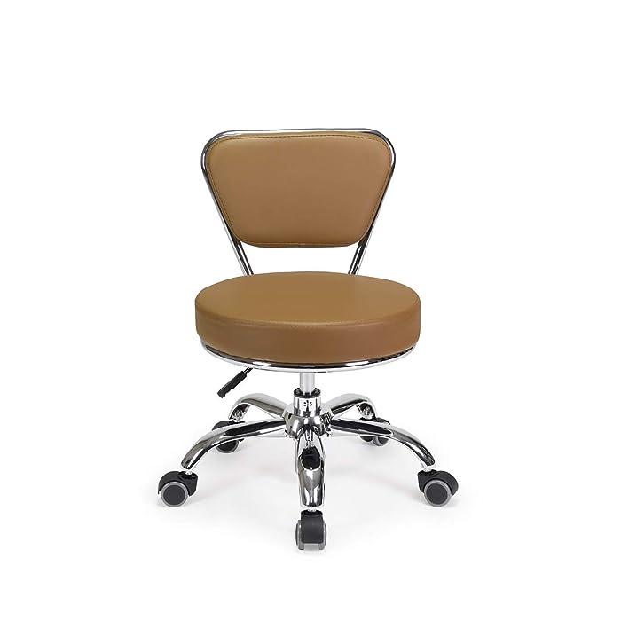 Dayton Pedicure Stool CAPPUCCINO Pneumatic, Adjustable Height perfect for Nail salon, Pedicure spa, Rolling Salon Furniture & Equipment