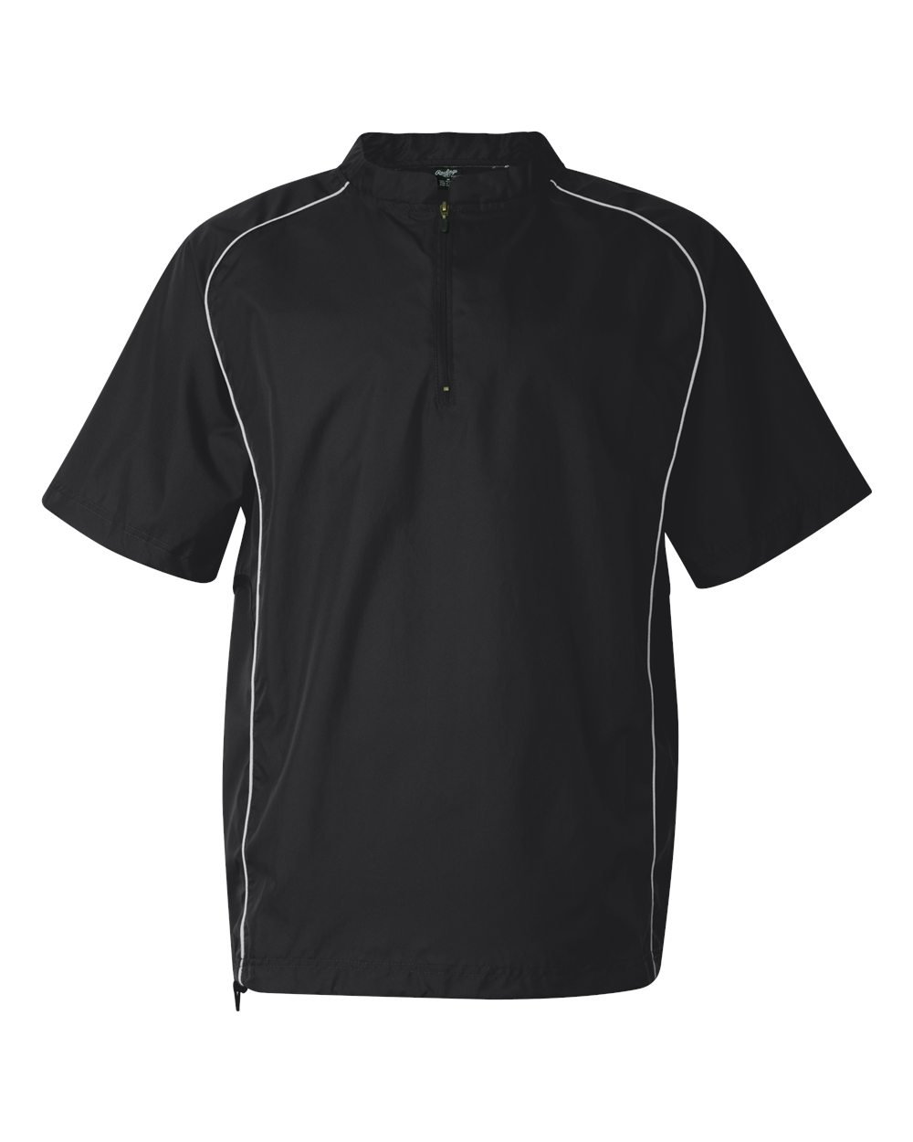 Rawlings Adult Quarter-Zip Short Sleeve Dobby Jacket With Piping (Black) (L)