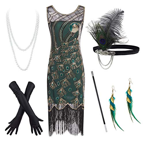 20's Vintage Peacock Sequin Fringed Party Flapper Dress Costume Accessories Set Green ()