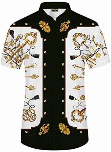 Pizoff Men's Luxury Short Sleeve Floral Print Button Down Dress Shirt - Ring Vesace