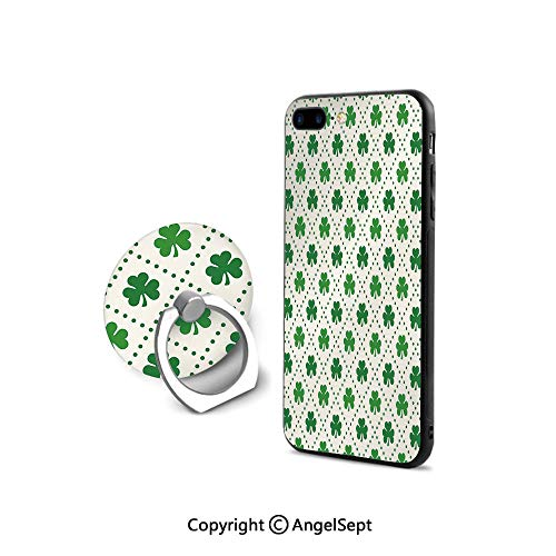 Protective Case for iPhone 8/iPhone 7 with Ring Holder Kickstand,Four Leaf Shamrock Clover Flowers with Dotted Dashed Lines National Culture Symbol Decorative,for Girls,Green White