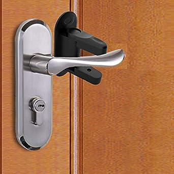 Qrbxa 2 Pack Door Lever Lock Child Proof Doors Handles 3m Adhesive