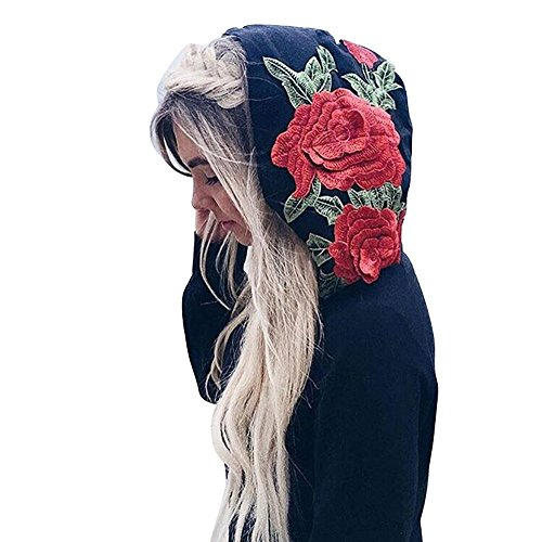 Embroidered Running Sweatshirt - Luckyauction Women Rose Embroidered Sweatshirt Floral Printed Casual Hoodie Pullover Tops
