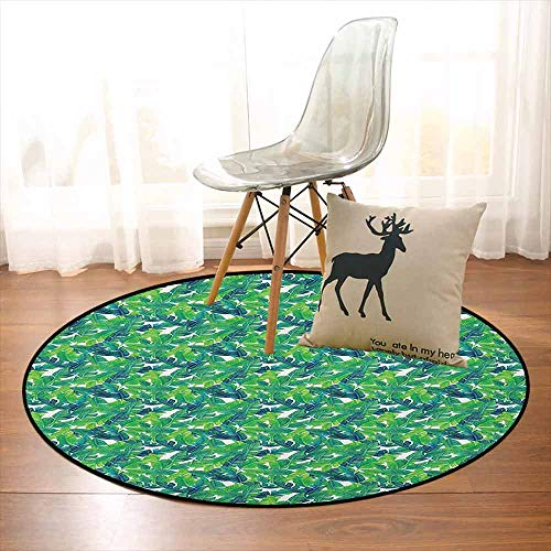 (Banana Leaf Children's Bedroom Carpet Lush Green Leaves of a Tropical Tree Brazilian Jungle Island Vegetation Art Soft Fluffy D39.7 Inch Green White)