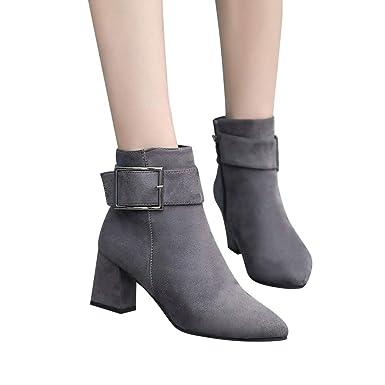 Botas de Hebilla de Invierno para Mujer, Zapatos de Mujer Botas de Gamuza