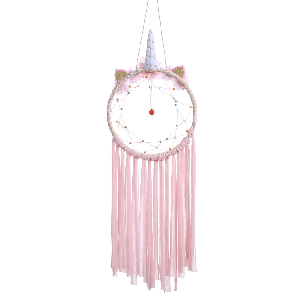 Laddawan Unicorn Dream Catcher 8.07'' x 25.19'' Natural Wall Hanging with Beads, Flowers, Colorful Cloth Strips (Pink)