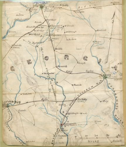 1861 Map Georgia. Shows railroad lines emanating south and east of Atlanta going toward Macon and - Best Buy Georgia Locator Store