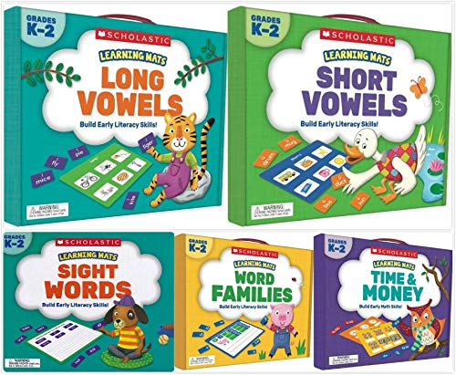 Learning Mats Kits Set for Grades K-2 (5 Kits) - Long Vowels, Short Vowels, Sight Words, Word Families, Time&Money ()