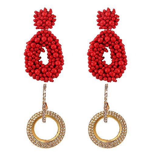 Siteer 4PCS Beaded Drop Earring Statement Earrings Tassel Earring for Handmade Bohemian Beaded Round Drop Earrings Gift…