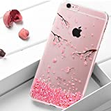 for iphone 6 6S Case Floral,Areall Pink Flower with Glitter Luxury Crystal Rhinestone Silicone Soft Slim Thin Flexible Rubber Shockproof Back Cover Bumper for iphone 6/6S(4.7inch)