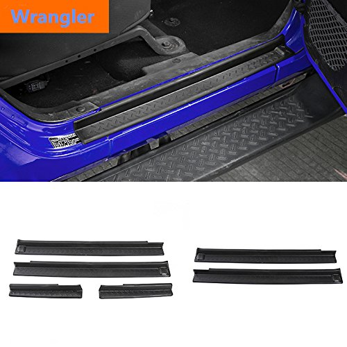 Amazon.com: Highitem ABS Door Sill Plate Scuff Entry Guard Protector Welcome Padel for Jeep Wrangler JK 2 & 4 Doors 2007-2017 (4 Doors): Automotive