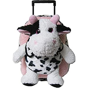 Kreative Kids Pink Cow Rolling Backpack w/ Shiny Eyes, Removable Stuffie & Wheels