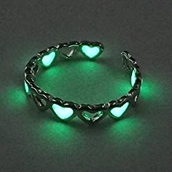 Fashion Women Men Rings Glow In The Dark Heart Valentine's Day Gift Punk Lovers (green heart)