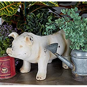Benzara 79928 Adorable Pig Flower Pot, Cream