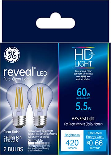 GE Lighting Reveal HD+ 40W Replacement LED Light Bulbs, 2-Pack, Clear, Decorative, Blunt Tip, Dimmable LED Light Bulbs, Medium Base, BM