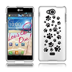 Fincibo (TM) LG Spirit 4G MS870 Protector Cover Case Snap On Hard Plastic - Black Dog Paw, Front And Back