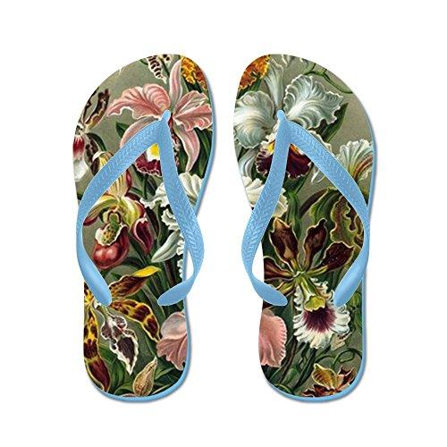 Cafepress Vintage Orkidéer - Flip Flops, Roliga Rem Sandaler, Strand Sandaler Caribbean Blue