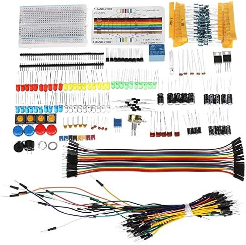 DDIY Electronic Components Basic Entry Electronic kit with Bread Board Resistor Capacitor led Jumper Cable with Plastic Box Packaging Products Compatible with Arduino Board