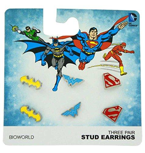 DC Comics Flat Enamel Earrings Set - Set of - Dc Earrings