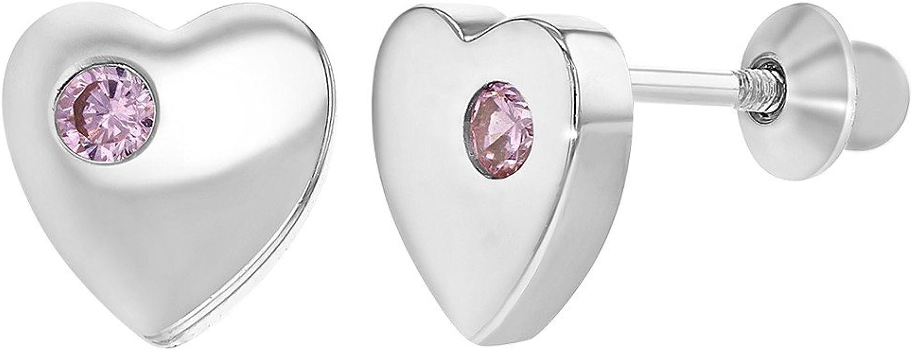 Tiges poussettes s/écurit/é /à vis In Season Jewelry Enfants Rose Chaud Zircone Cubique Argent 925//1000 Fleur Boucles d/'oreilles