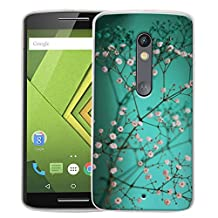Moto X Play Case, Linkertech Slim TPU Bumper Flexible Soft Back Case Cover Skin Protective for Moto X Play / Droid Maxx 2 5.5 Inch 2015 Smartphone (Plum Blossom)