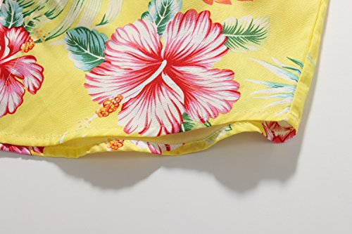 SSLR Big Boy's Hibiscus Cotton Short Sleeve Casual Button Down Hawaiian Shirt (X-Large(18-20), Bright Yellow) by SSLR (Image #7)
