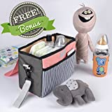 Universal Stroller Organizer with Shoulder Strap & Stroller Hook + Free Bonuses! | Thermo Denim Fabric | Waterproof & Washable | 5 Functional Pockets | Perfect Baby Shower Gift |