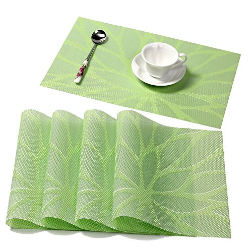 HEBE Washable Placemats for Table PVC Table Placemats Set of 4 Heat Insulation Stain-Resistant Indoor/Outdoor Woven Table Mats