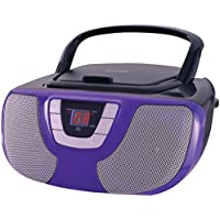 Sylvania Portable CD Player Boom Box with AM/FM Radio (Purple)