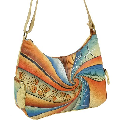 Ledershop24, Borsa a spalla donna Multicolore multicolore 36 cm breit x 22 cm hoch x 14 cm breit