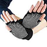Crown Sporting Goods Fingerless Yoga Gloves with Slip-Free Texturizing Beads, Black