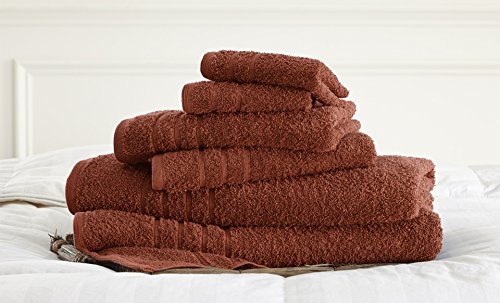Luxury Spa Collection | 6-Piece Ultra Soft 600GSM 100% Combed Cotton Towel Set by Amrapur Overseas [Spice] (Spice Spa)