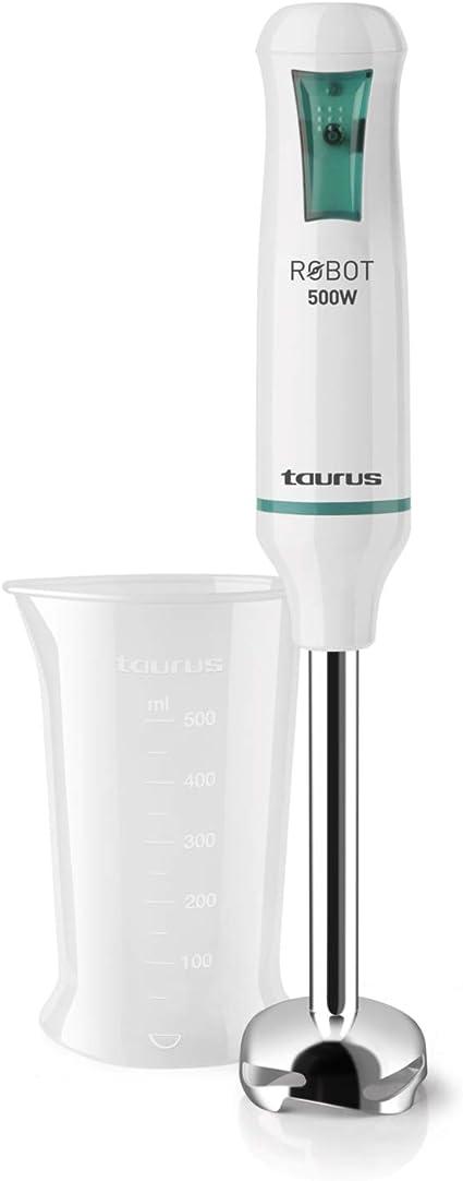 Taurus ROBOT500INOX Robot INOX-Batidora de Vaso, 500 W, Cuchillas en Acero Inoxidable, Sistema antisalpicaduras, Blanco y Verde: Taurus: Amazon.es: Hogar