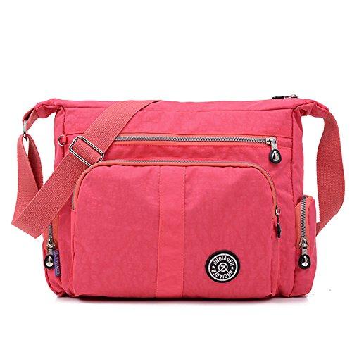 MeCooler Bolso Bandolera Mujer Ligero Bolsos Casual Escolares Bolsos de Moda Impermeable Bolsas de Deporte Bolsas de Viaje Escuela para Sport Tablet Rojo 1