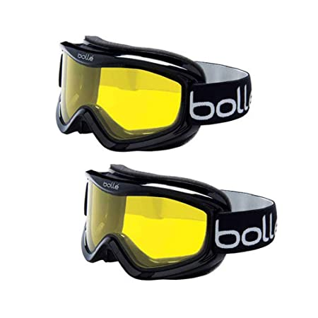 Bolle Mojo Ski Snow Goggles, 2-Pack Shiny Yellow Lemon Ventilated Dual-Pane Anti-Fog Thermal Barrier Crystal Clear View Med-Lg. Adult Fit