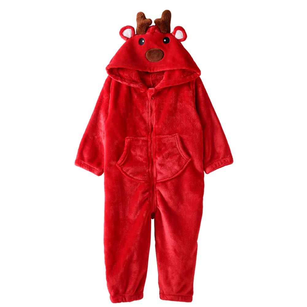 ZWZH Enfants Mignon Combinaison de Sleepsuit Costume de Dessin animé Cerfs communs Animaux Pyjamas HalFaibleeen Cosplay Costumes Doux et Confortable,L