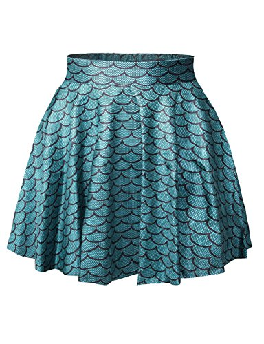 LaSuiveur Womens Scales Digital Print Stretchy Flared Pleated Casual Mini Skirt