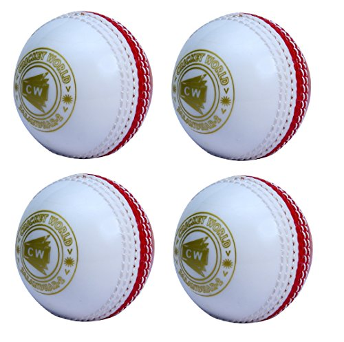 CW Set of 4 Spin Poly Soft PVC White   Red Sports Cricket Ball Suitable for General Training   Practice,Coaching