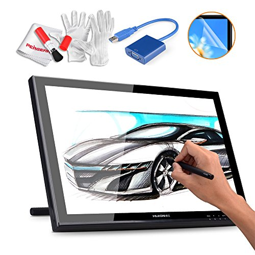 Huion GT-190 19 Inches Drawing Pen Display Graphics Tablets Monitor with USB 3.0 to VGA Adapter, Screen Protector and Pergear Cleaning Kit by Huion
