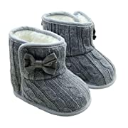 Amiley Baby Bowknot Knitted Wool Soft Sole Snow Boots Crib Shoes Toddler Bootie (Size 12 (US:3--- 6~12 Month), Gray)