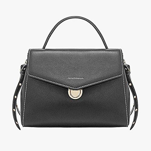Bolso de Las Mujeres Versión Coreana de The Tide Leather Ladies Bag Bolso de Hombro Simple Wild Handbag Mujer B