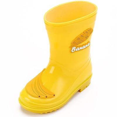 Hellozebra Children's Rain Boots Toddler/Little Kid PVC Boots Naive Waterproof Unisex Junior Rain Shoes