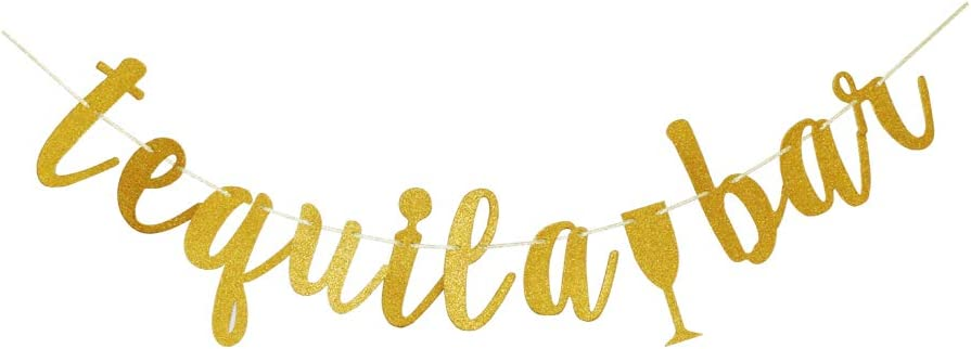 Tequila Bar Banner, Fiesta Theme Party Decors, Gold Glitter Birthday Party Sign Supplies Paper Props