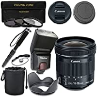 Canon EF-S 10-18mm f/4.5-5.6 IS STM Lens with Vivitar TTL Flash + 3pc Filter Kit + Monopod