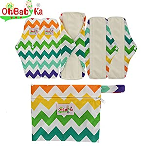 OHBABYKA Bamboo Reusable Sanitary Napkins Pads 5 Pcs, A Wet/Dry Bag for Women