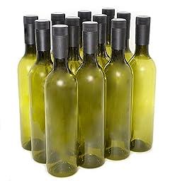 Plastic Wine Bottles & Screw Caps, Green, 750ml - Pack of 12