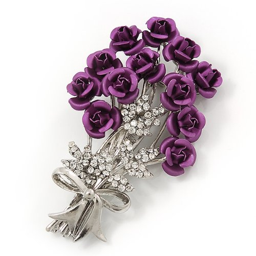 Violet 'Bunch Of Roses' Diamante Brooch In Silver Plating - 6.5cm Length Xqx7ftR0w