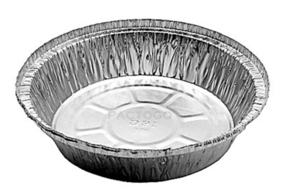 Durable Packaging International 7'' Round Aluminum Foil Take-Out Pan 50 Pack -Disposable Tin Containers (No Lids)
