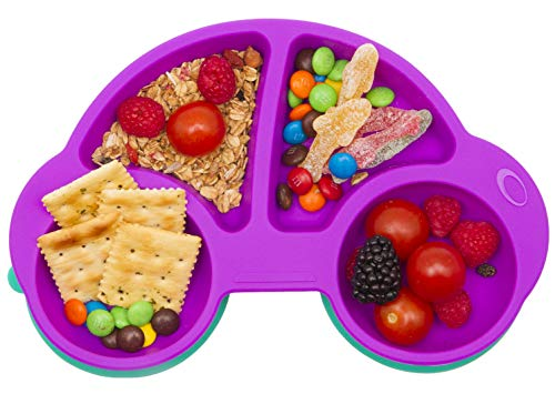 Silicone Divided Toddler Plates - Portable Non Slip Suction Plates for Children Babies and Kids BPA Free FDA Approved Baby Dinner Plate (New Car-Purple)