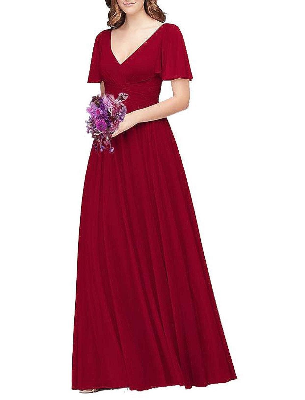 Dark Red Flutter Sleeve Long Ball Prom Gown for Women Formal Bridesmaid Dress Maxi Skirt